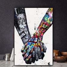 Любителей рука об руку граффити на холсте Плакаты и принты в
