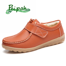 PEIPAH Genuine Leather Fur Women Moccasins Shoes Autumn/Winter Woman Flats Casual Rubber Female Hook & Loop Ladies