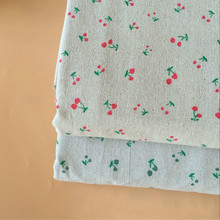 Beige Cotton Linen Fabric Cherry Printed DIY Sewing Canvas Cloth Materia For Curtain Sofacover Tablecloth