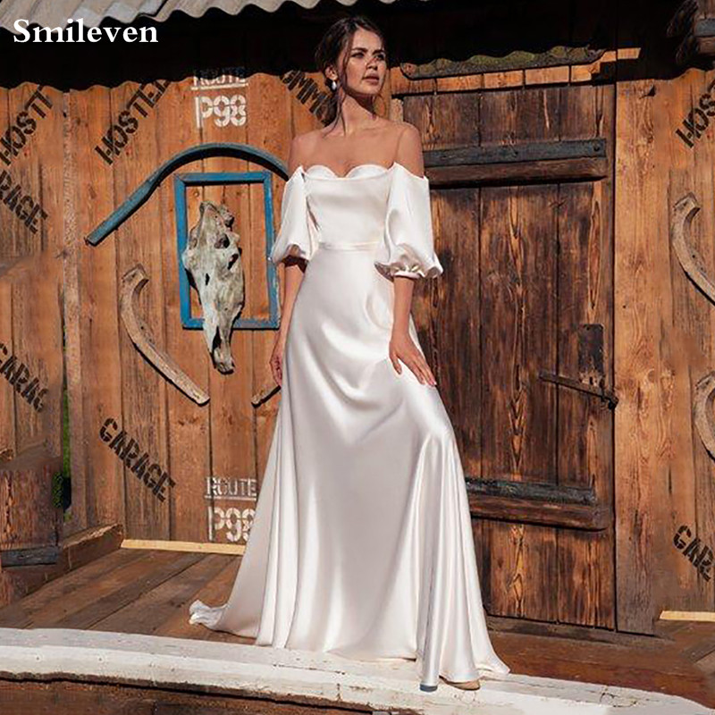 Smileven Princess Wedding Dresses Puff Sleeve Silk Satin Robe De Mariee Off The Shoulder Boho Wedding Gowns Bride Dresses