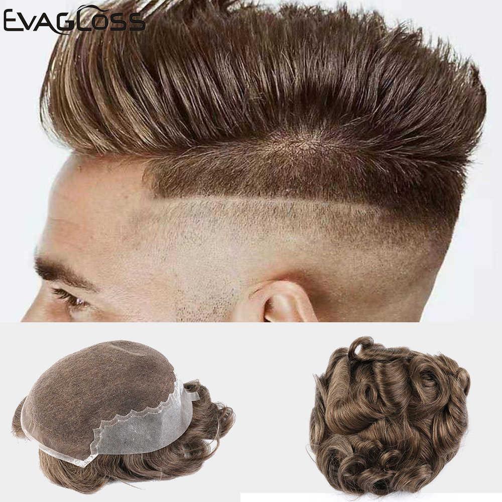 EVAGLOSS männer Perücke Q6 Stil Natürliche Haaransatz Remy Menschenhaar Männlichen Haar Perücken Schweizer Spitze Dünne PU Haar System für Toupet Herren