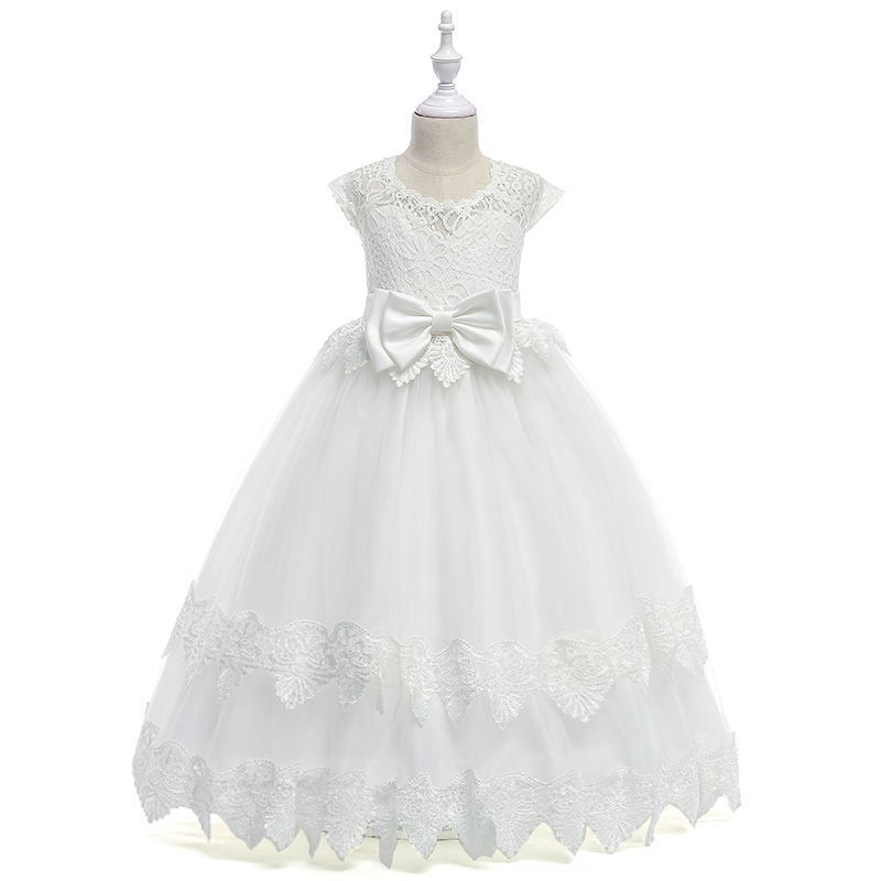 Fashion Lace Floor Length Baby   Flower     Girl     Dress   3-8T Puffy   Flower     Girl     Dresses