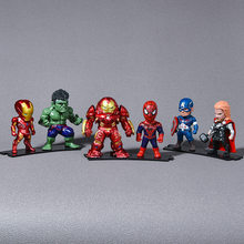 6 Pcs Disney Marvel Avengers Infinity War Thanos Spiderman Iron Man Batman Captain America Action Figure Mainan Boneka Mainan 9 CM Hot(China)