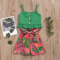 Fashion Baby Girls Clothing Sets Summer Thin Cool Sleeveless Strap Solid Casual Vest Tops+Shorts Children Outfits Set Green