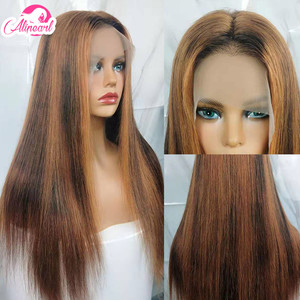 Colored Straight Lace Front Human Hair Wigs PrePlucked 180% 250% Density Brazilian Virgin Hair Wigs For Black Women AliPear Hair(China)