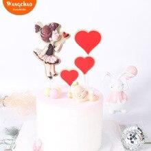 1 комплект Сладкая маленькая девочка любовь Топпер для торта в форме сердца сладкие 16 вечерние украшения девочка счастливые украшения для торта на день рождения вечерние принадлежности