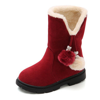 2020 Winter Kids Warm Pom Pom Princess Boots Baby Girl Fur Lined Snow Boots Anti Slip Mid-Calf Boots Casual Kids Girl Shoes D30 kids bling sequin glitter boots girls 2020 winter snow shoes anti slip fur ankle boots fashion girl sneaker botas bebe niña d30