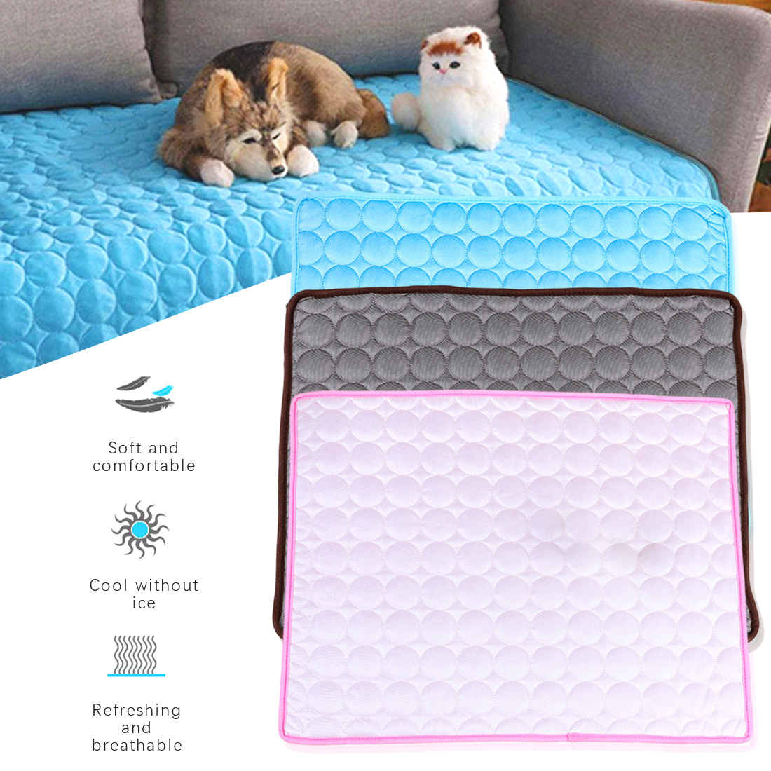 2020 New Summer Pet Beds Sofa Ice Pad 100*70CM Large Size Ice Silk Cool Dog Mat Cooling Cat Blanket Washable