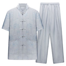 Chinese style Tang summer casual men's Chinese short sleeve trousers Chinese clothing two-piece set