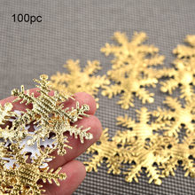 100pcs Gold Silver Cloth Christmas Snowflake Confetti Artificial Christmas Family Wedding Party Celebration Decoration 4cm(China)