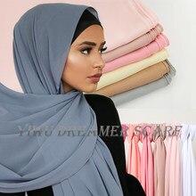 Mulheres plain bubble chiffon cachecol hijab impressão cor sólida xale bandana muçulmano hijabs turbante chiffon cachecóis bandana 83 cores