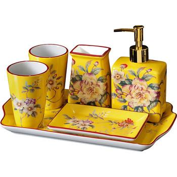 Ceramiczna armatura łazienkowa zestaw dozownik do mydła uchwyt na szczoteczki do zębów i kubki z tacą pudełko na chusteczki zbiornik prezent ślubny tanie i dobre opinie HULUBO CN (pochodzenie) QQ-BB-00965 Umywalki łazienkowe