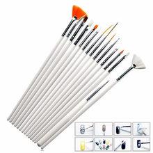 15 шт. Профессиональный гель лак для ногтей кисти 15 Размеры, дизайн ногтей акриловая кисть ручки деревянные ручки нажмите с силой так, рисуно...