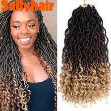 Sallyhair Beauty Bohemian Faux Locs Synthetic Crochet Hair Extensions Ombre Black Brown Curly Crochet Braiding Goddess Hair