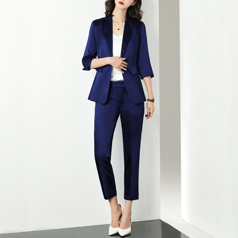 Office Ladies Slim Fit Womens Suits Two Piece Single Button Three Quarter Sleeve Blazer Ankle Length Pants Formal Workwear Suits