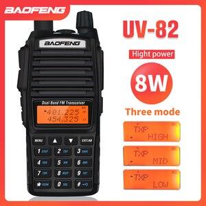 Image 1 - 10km 8W Двухполосный рация UV 82 Baofeng UV 82 FM трансивер портативное радио ветчина 128CH VHF/UHF UV 82 Двухстороннее радио 2800mAh