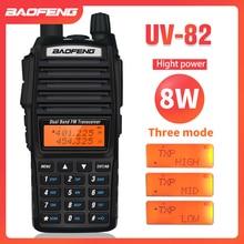 8W Dual Band ווקי טוקי 10km Baofeng UV 82 FM משדר נייד CB רדיו חם 128CH VHF/UHF UV 82 שתי דרך רדיו 2800mAh