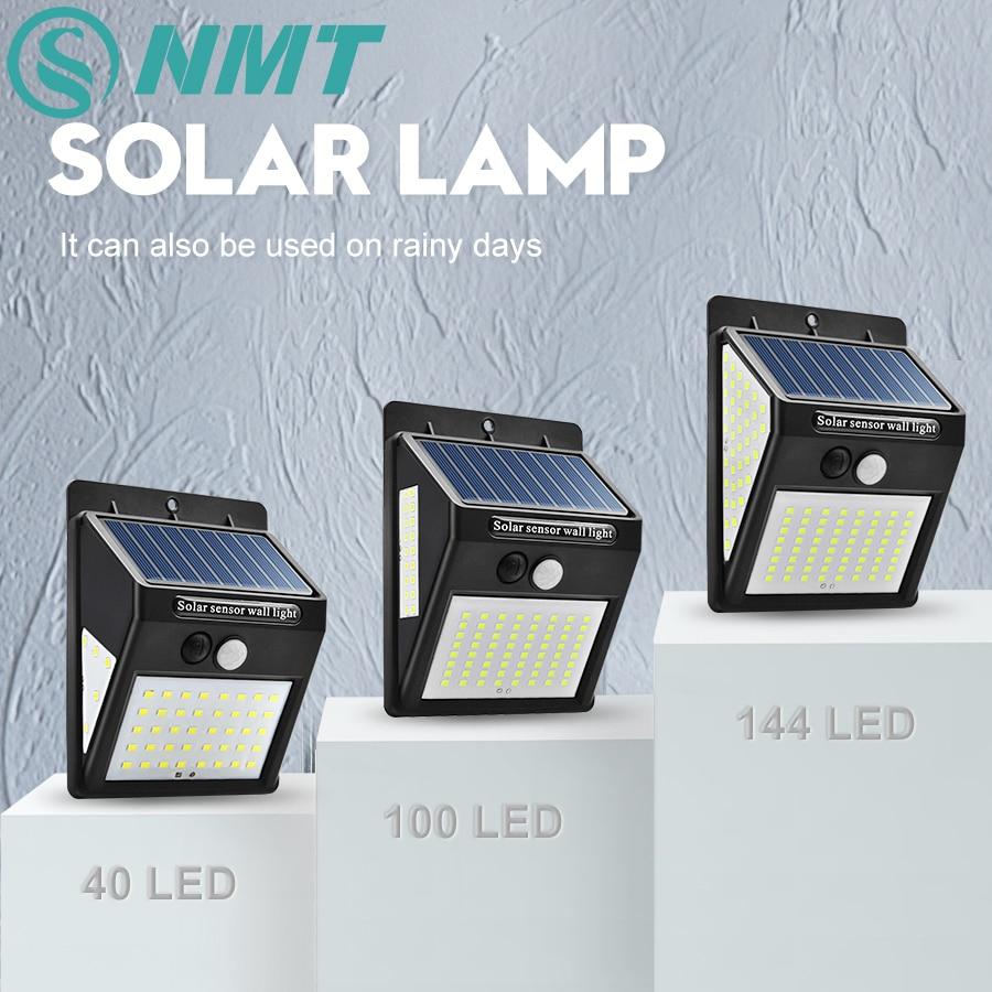 40/100/144 LED Outdoor Solar Wall Lamp PIR Motion Sensor Waterproof Light Garden Light Path Emergency Security Light 3 Sided|Solar Lamps| |  - title=