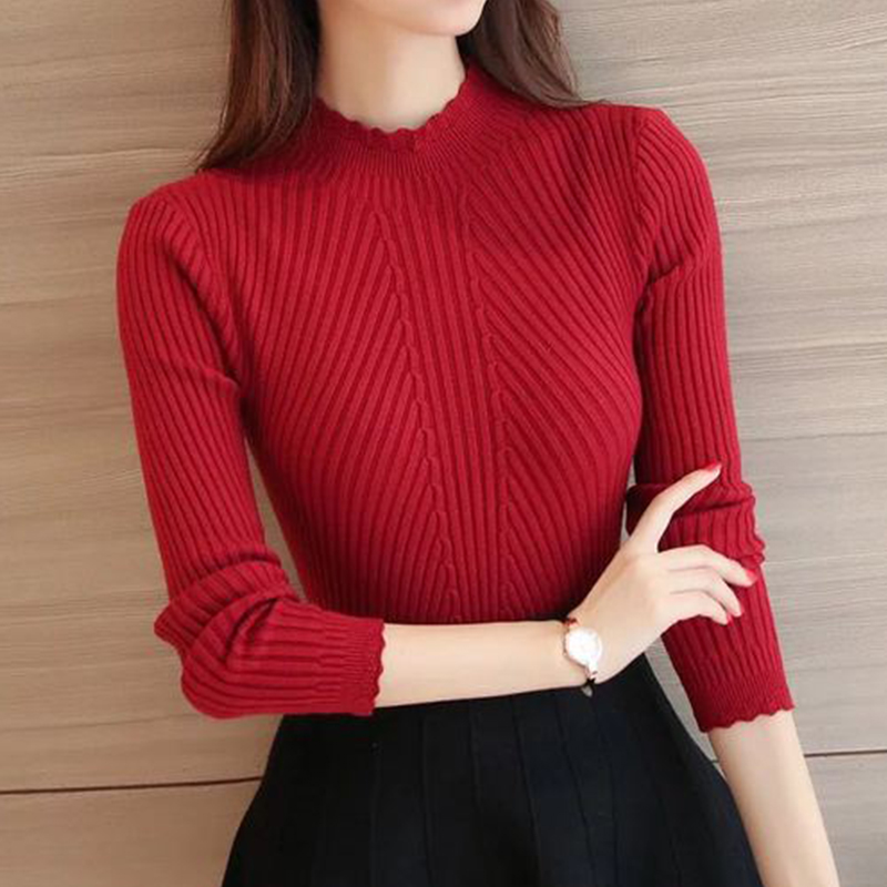 Solid Knitted Ruffle Sweater Women Winter Sexy Slim Elegant Pullover Sweater Ladies Korean Casual Long Sleeve Bottoming Sweaters