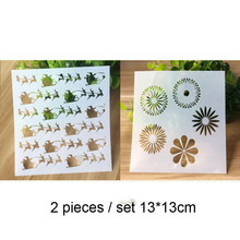 2pc Christmas Painting Template For Wall Painting Scrapbooking Album Decor Embossing Template Bullet Journal Supplies Stencils 6pc template stencils for painting and decoration scrapbooking photo album decorative embossing wall bullet journal stencils