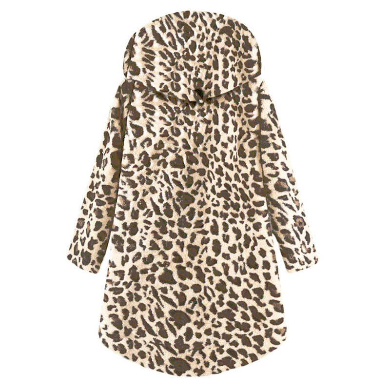Winter Woman Coat Leopard with Long Hooded