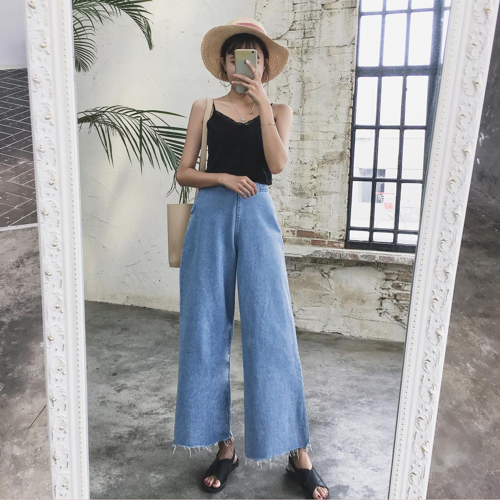 2019 New Retro Chic Style Side Zipper High Waist Frayed Wide Leg Jeans For Women Streetwear Boyfriend Denim Trousers