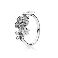 Shimmering Bouquet Spring Flowers Women Rings Jewelry White Enamel & Clear CZ 925 Sterling Silver Ring Jewelry Shine Women Ring