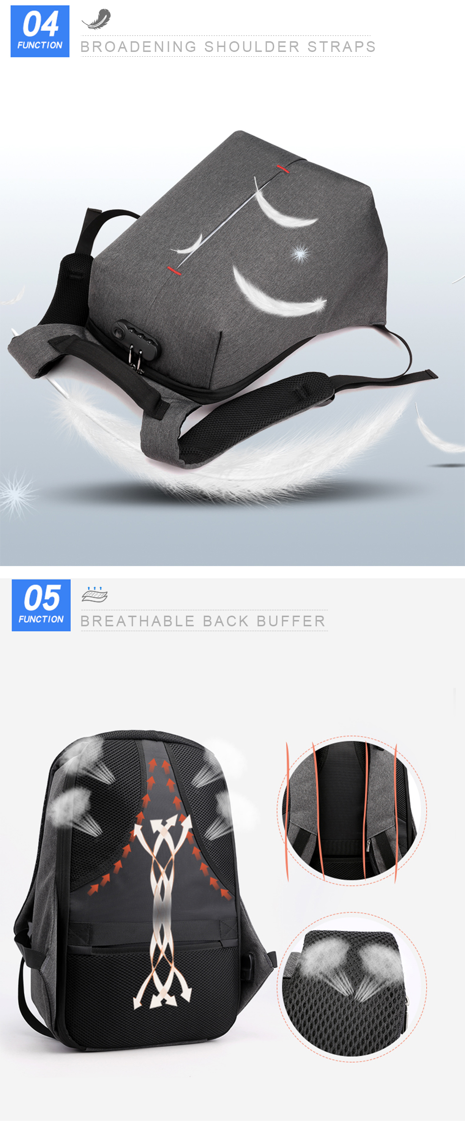 Laptop Backpack 15.6 Inch Notebook Back Pack Anti Theft Business Men Travel Bags Waterproof Male USB Charging Student Bagpack (6)
