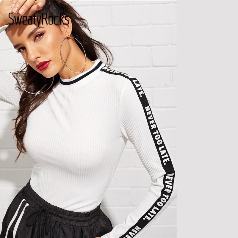 SweatyRocks Contrast Letter Tape Rib-knit Fitted Tee Streetwear Slim Fit Ladies Tees And Tops 2019 Casual Women Basics T-Shirts
