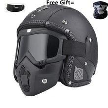 Profissional retro capacete da motocicleta óculos de proteção máscara vintave aberto rosto capacete cruz capacete disponível dot aprovado