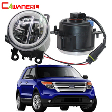 Cawanerl 2 adet araba LED ampul 4000LM sis işık + melek göz gündüz çalışan işık DRL Ford için 12V explorer 2011 2012 2013 2014