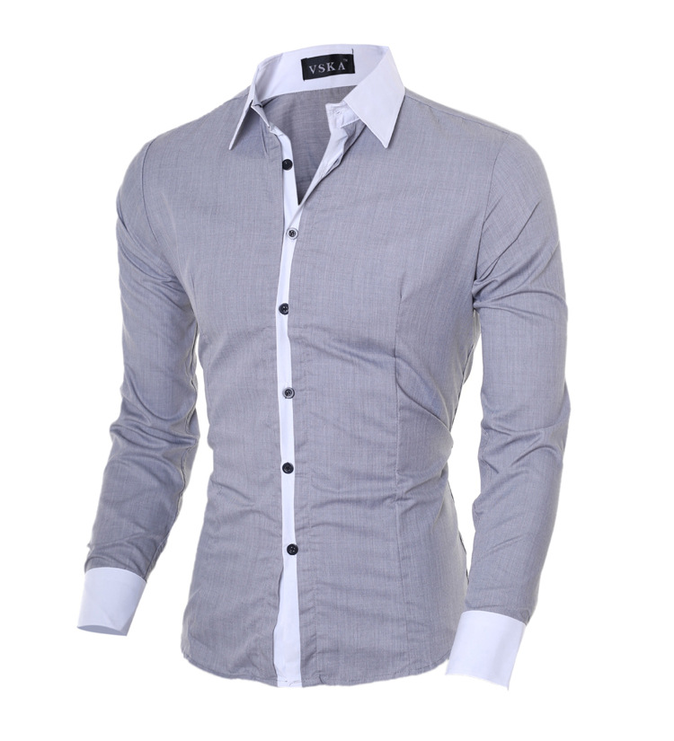 Classic Non-blue Placket Men's Cultivate One's Morality Leisure Square Collar Fashion Long-sleeved Shirt Wholesale Hitting Scene