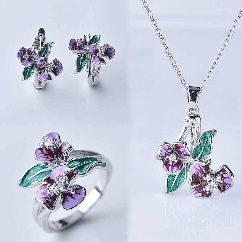 แฟชั่นชุดเครื่องประดับสำหรับสตรีสีม่วงประณีตดอกไม้แหวนต่างหูจี้สร้อยคองานแต่งงานเครื่องประดับชุด