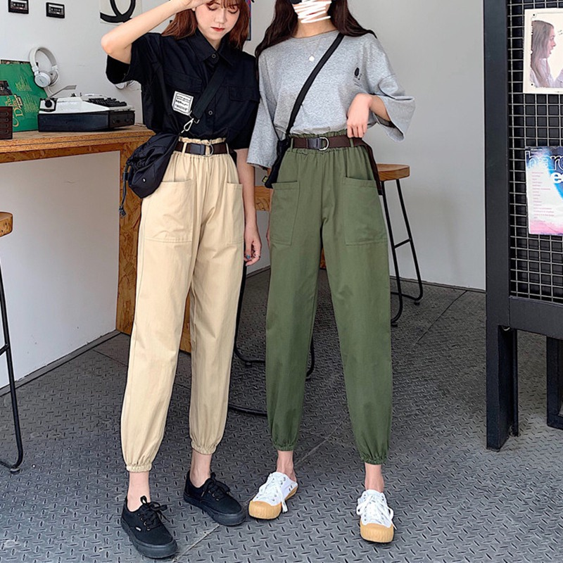 Fashion Women Pants Cargo High Waist Pants Loose  Trousers Joggers Female Sweatpants Streetwear Solid Color Pant