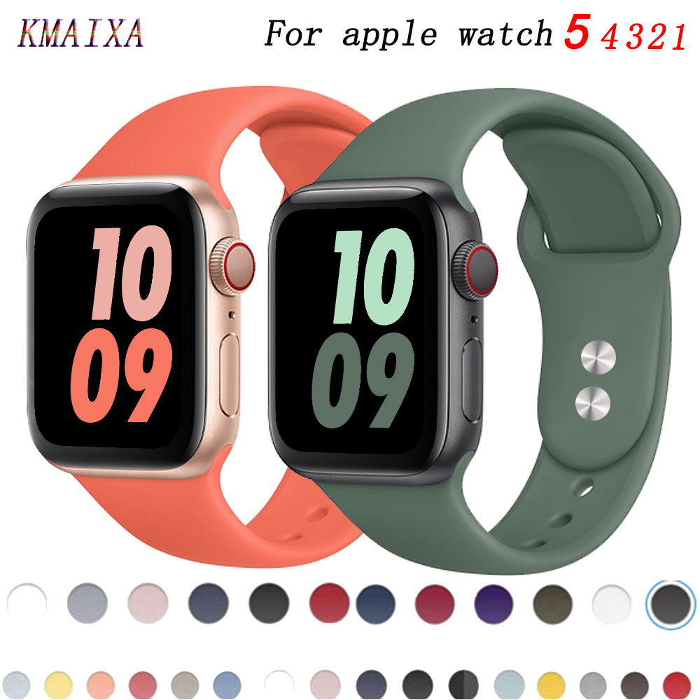Strap For Apple Watch Band Correa Apple Watch 42mm 44mm 38 Mm 40mm Iwatch Series 5 4 3 2 1 Silicone Pulseira Bracelet Watchband