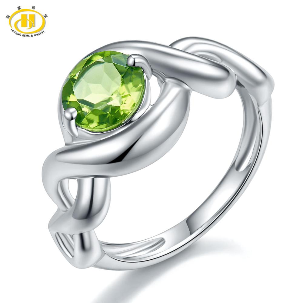HUTANG 925 Silver Ring 1.41ct Natural Green Stone Peridot Wedding Rings Fine Elegant Classicial Gemstone Jewelry For Christmas