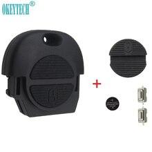 Чехол для автомобильного ключа OkeyTech, 2 кнопки дистанционного управления для Nissan Micra Almera Primera X-Trail с 2 переключателями, батареей CR2025 и накладко...