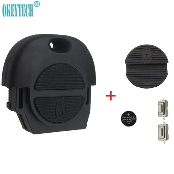 OkeyTech 2 кнопки дистанционного ключа автомобиля оболочка для Nissan Micra Almera Primera X-Trail с 2 переключателями и батареей CR2025 и чехол Pad