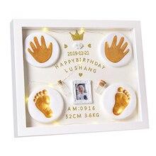 Kid Newborns Photo Frame Baby Molds Handprint Footprint 3D DIY Soft Clay Inkpad Kids Exquisite Souvenirs Casting Home Decoration