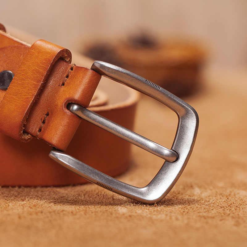 Mannen Riem Leren Riem Mannen Mannelijke Lederen Band Bruin Koe Lederen Riem Voor Mannen Pin Gesp Vintage Jeans cintos Masculinos