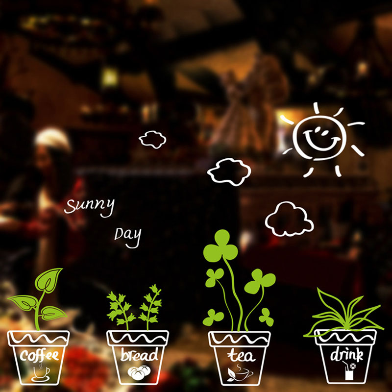 Potted Leaves Glass Window Wall Sticker Living Room Showcase Background Decorations Wallpaper Mural Combination Stickers