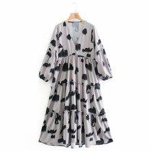 Frauen Tinte Waschen Druck Rüschen Tiered Kleid Weibliche Hülse Mit Drei Vierteln Lose Kleidung Lässig Dame Vestido D6707