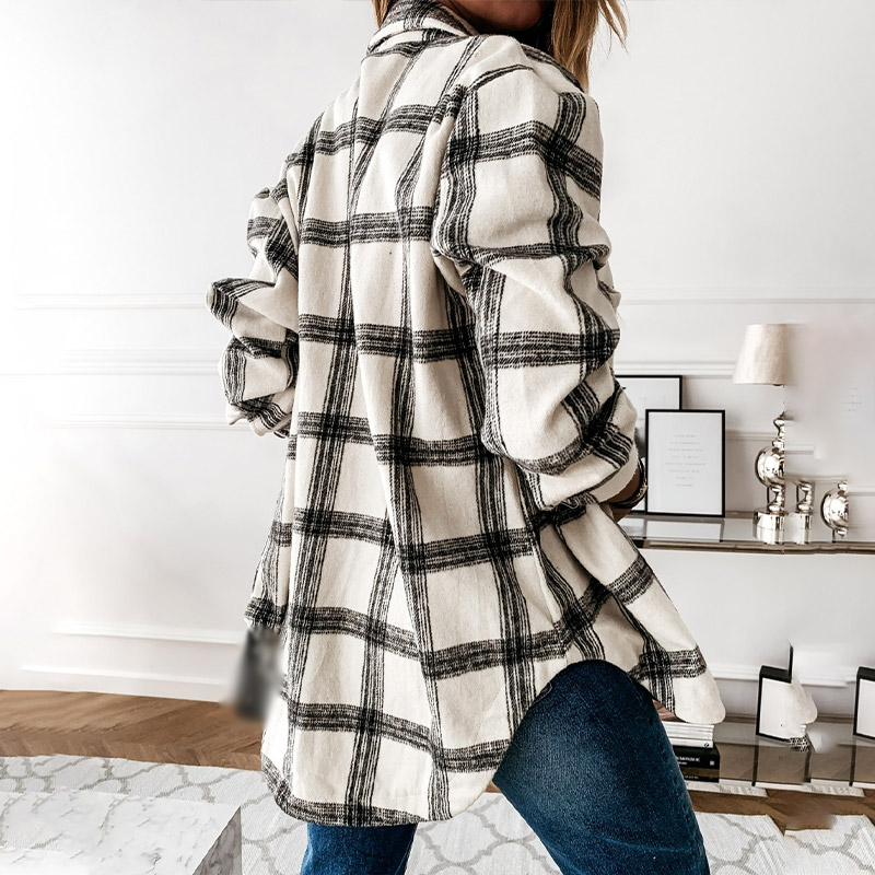 Women's Shirt 2020 Autumn Plaid Woolen Blends Long Sleeve Female Shirts Ladies Top Loose Single Breasted Winter Women Chemise