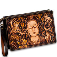Hand made Women Men Vegetable Tanned Leather Bag Money Holder Tathagata Clutch Clutches Envelope Production time: 30 days