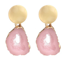 new style jewelry simple personality irregular geometry imitating natural crystal stone earrings popular manufacturers