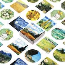 45 Uds Van Gogh de arte adhesivo de papelería lindo Planificador de patrones notas papel útiles escolares pegatinas de Halloween