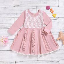 Розовое платье для маленьких девочек хлопковая Лоскутная Одежда