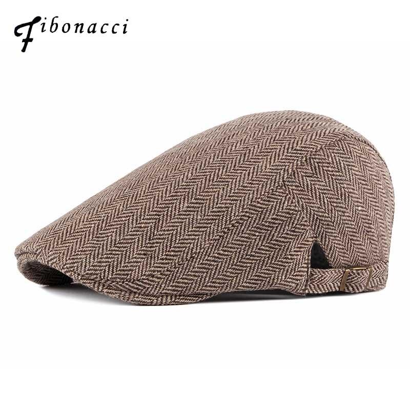 Fibonacci Tweed Herringbone Newsboy Cap Men Dad Beret Hat Autumn Winter Classic Style Flat Caps
