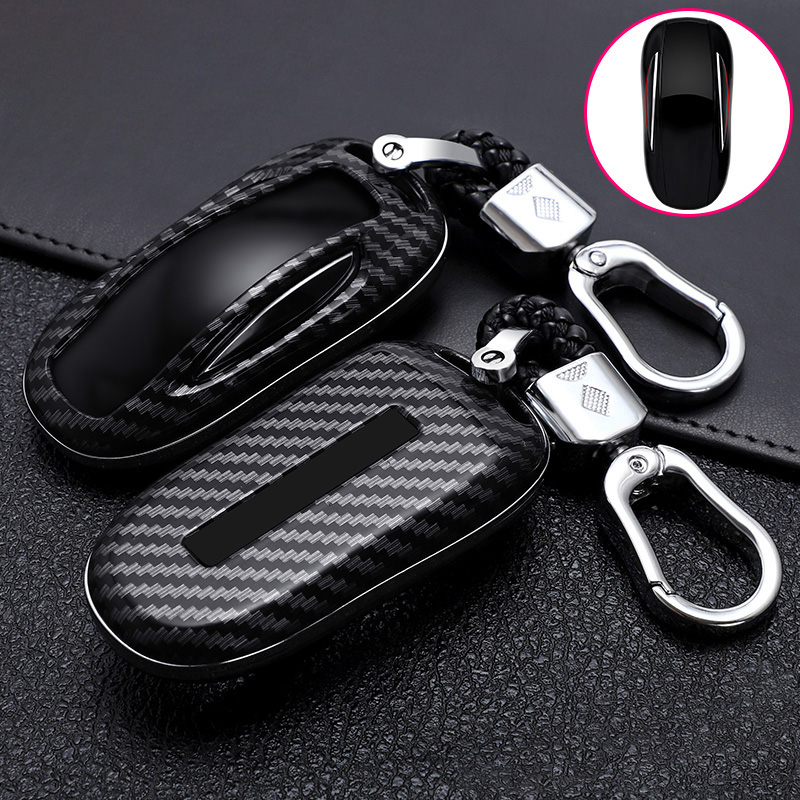 ABS Carbon Fiber Car Remote Key Case Cover For Tesla Model 3 Model S Model X Smart Key Bag Key Protected Holder Shell Accessorie