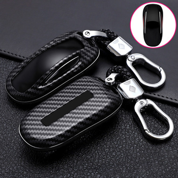 ABS Carbon Fiber Car Remote Key Case Cover For Tesla Model 3 Model S Model X Smart Key Bag Key Protected Holder Shell Accessorie new soft tpu car remote key case full cover holder shell for tesla model s model 3 auto smart key bag protector fob accessories